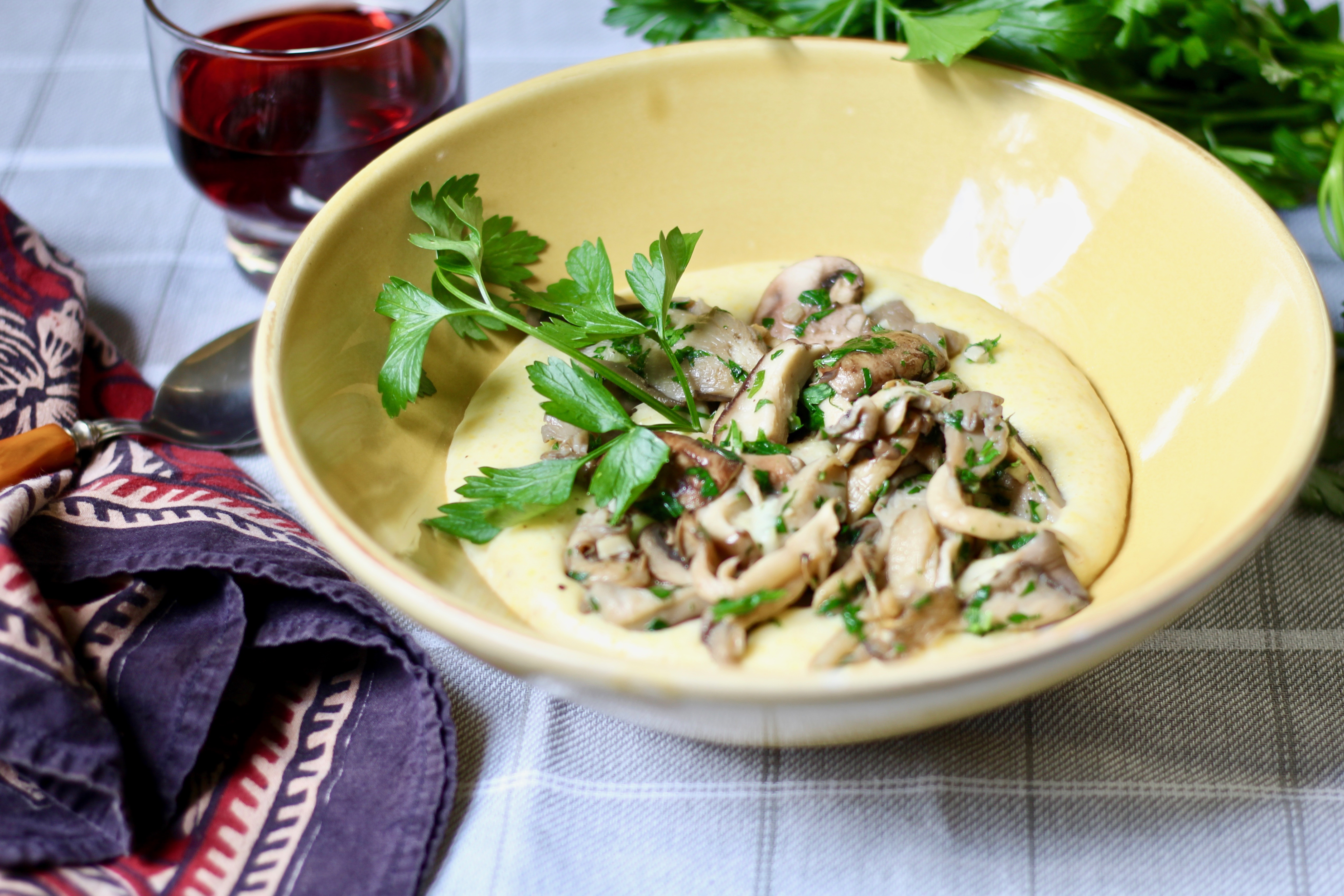 goat cheese polenta with mushrooms