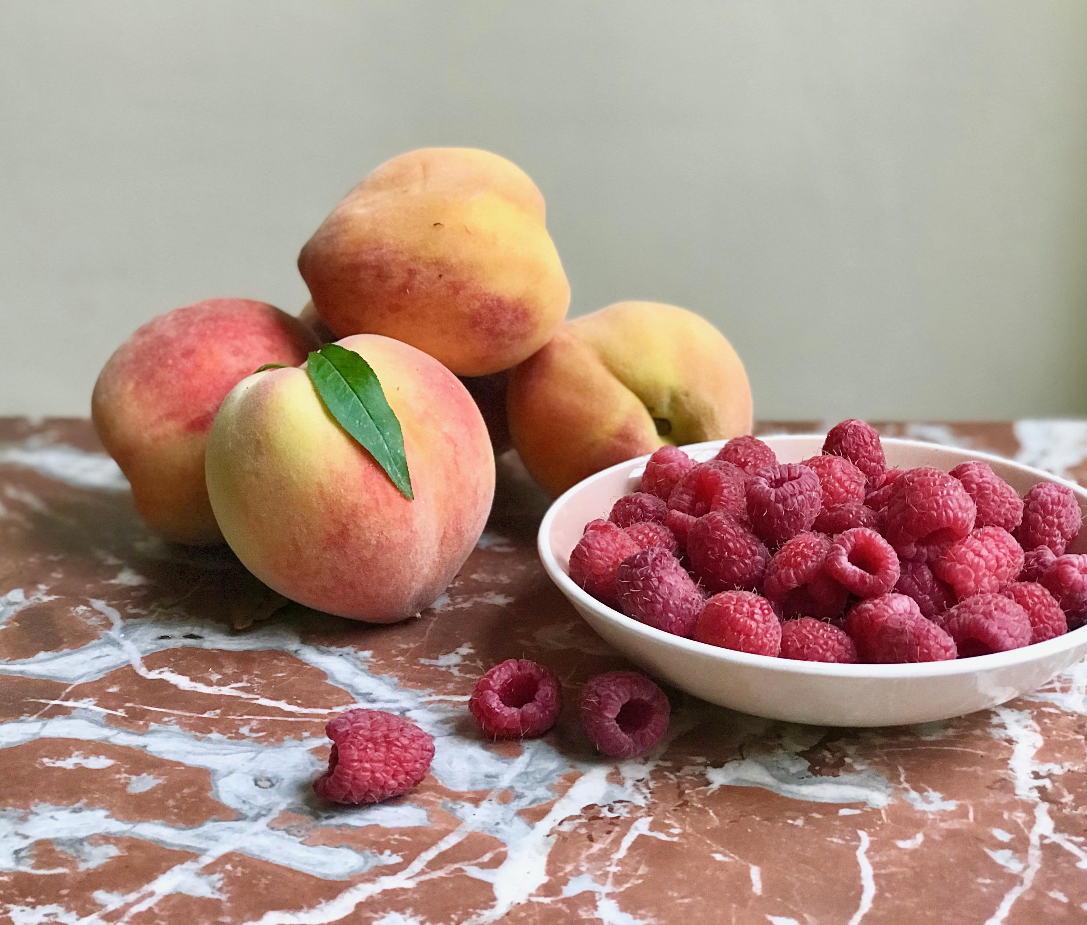fruits for raspberry peach shrub