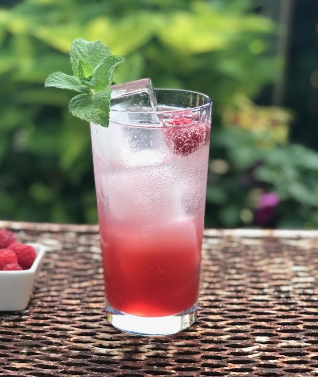 raspberry peach shrub with 2 ounces shrub