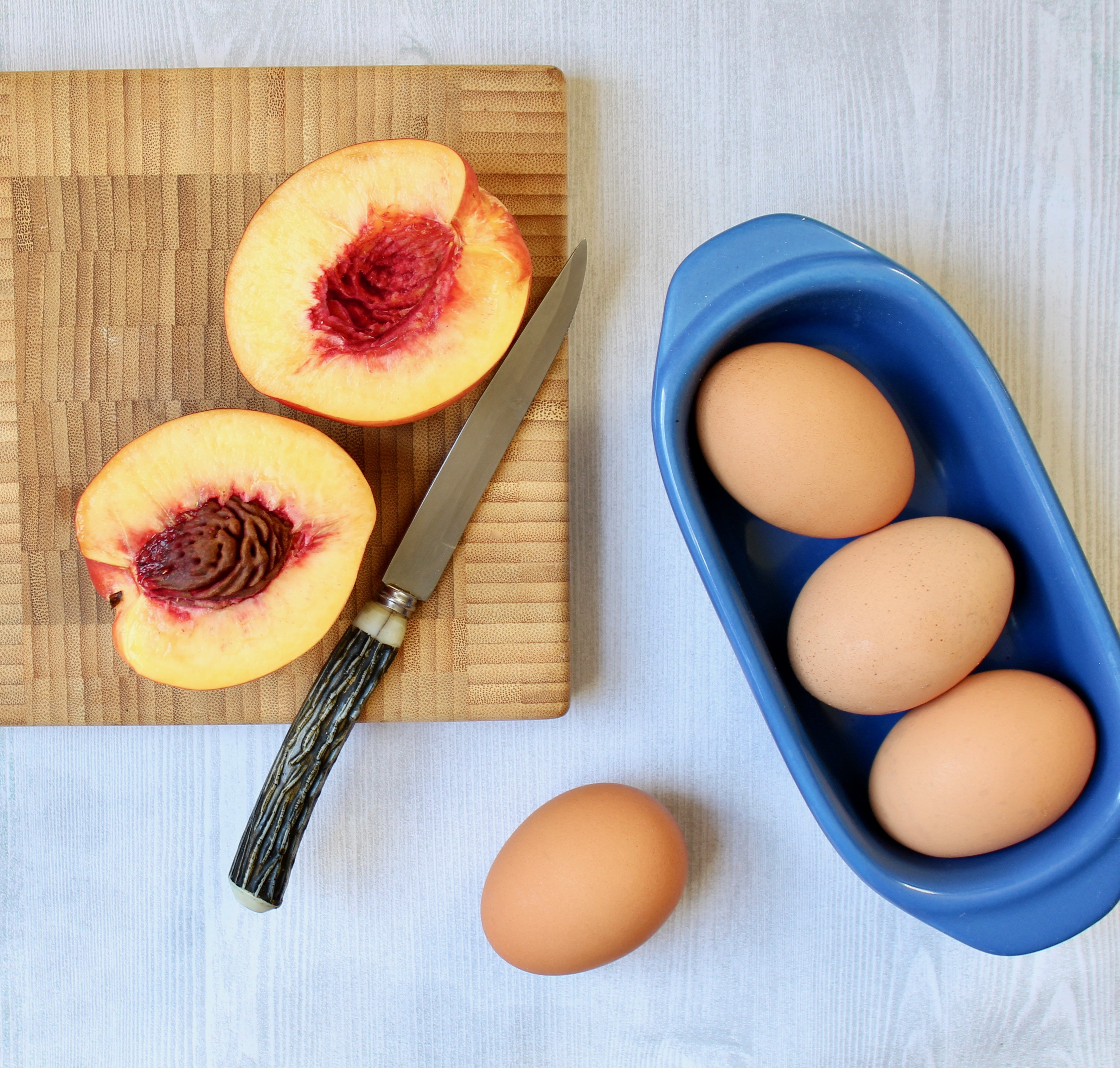 ingredients for nectarine almond cake