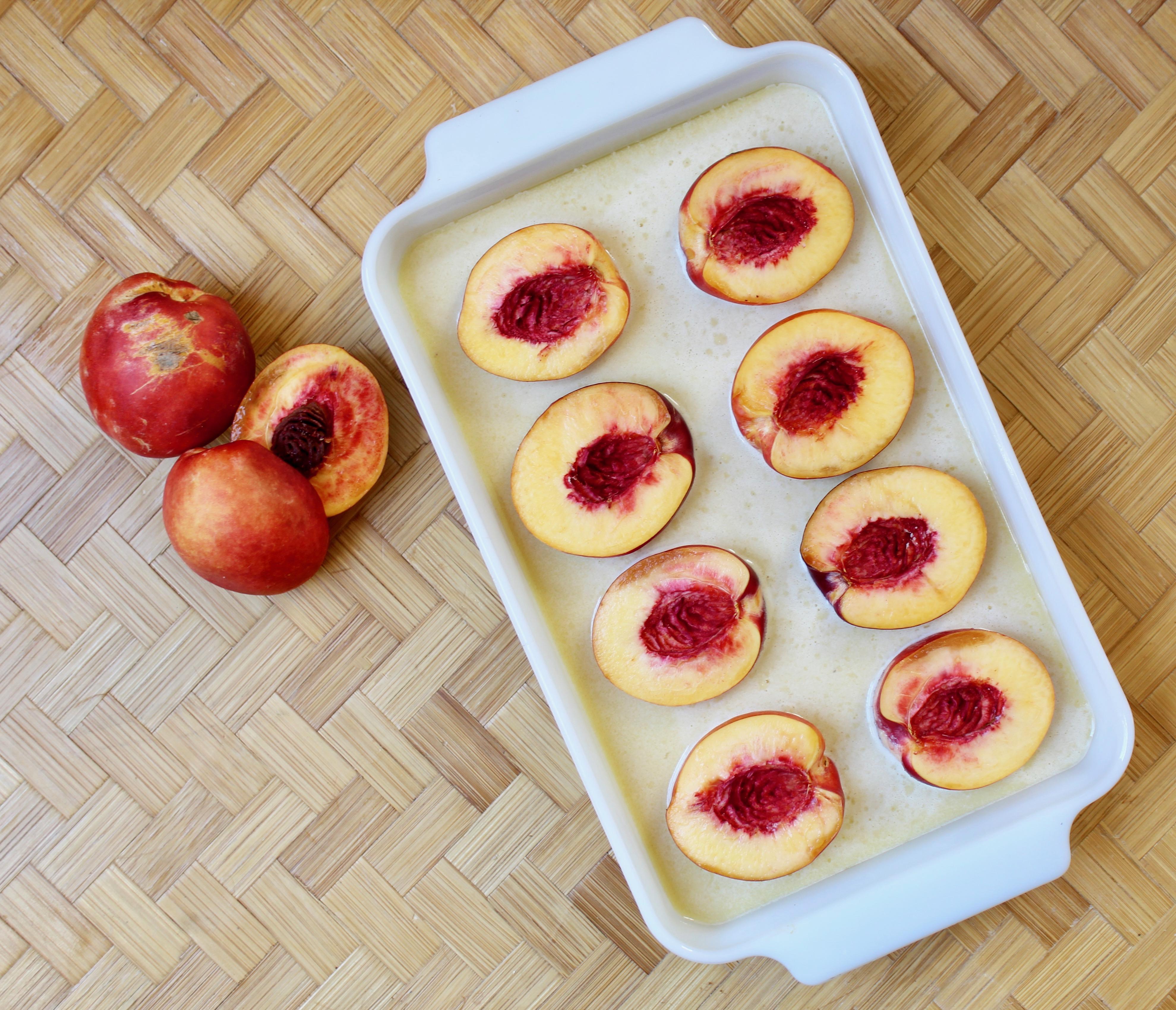 Nectarine Almond Cake before baking