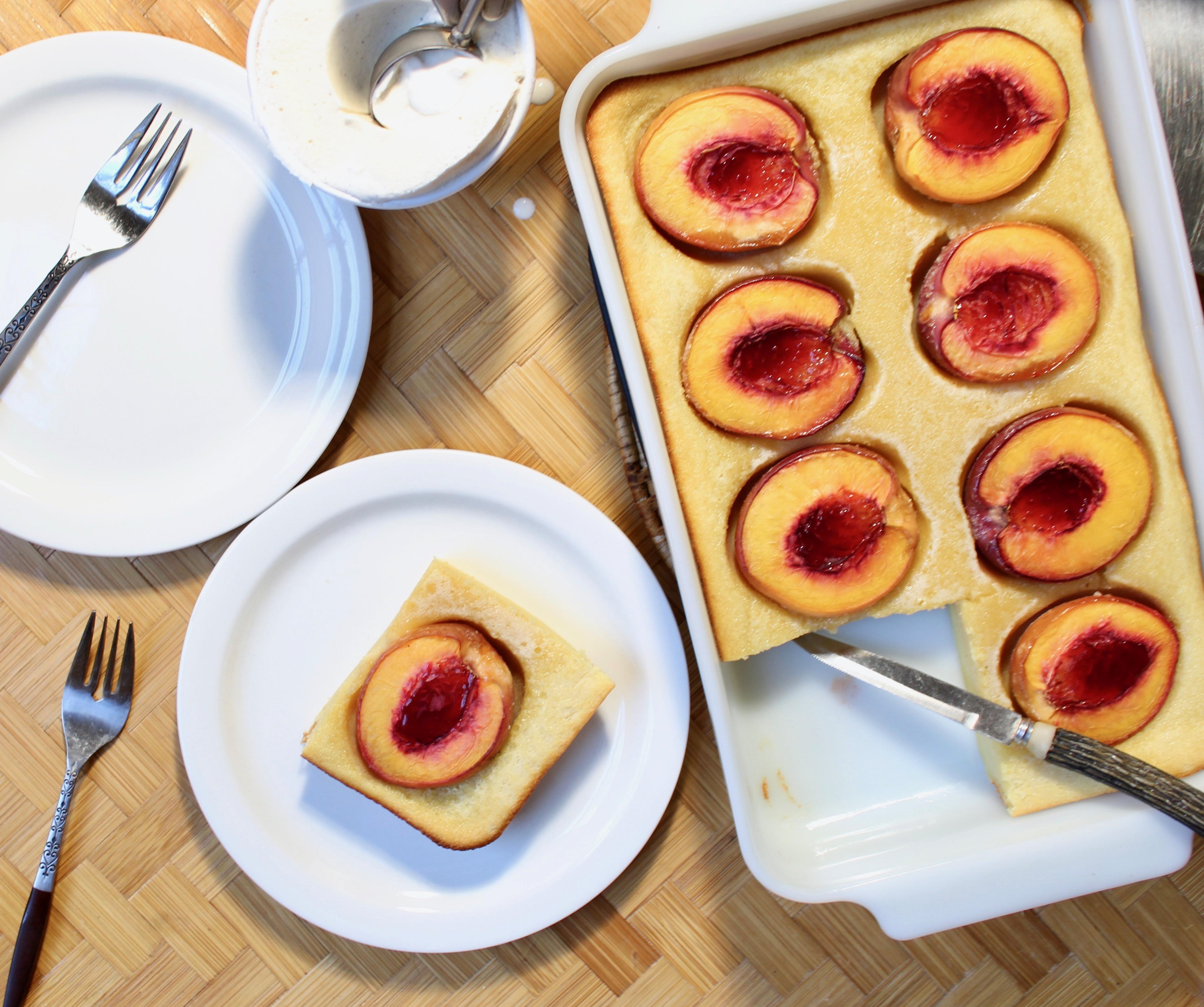 Nectarine Almond Cake with ice cream