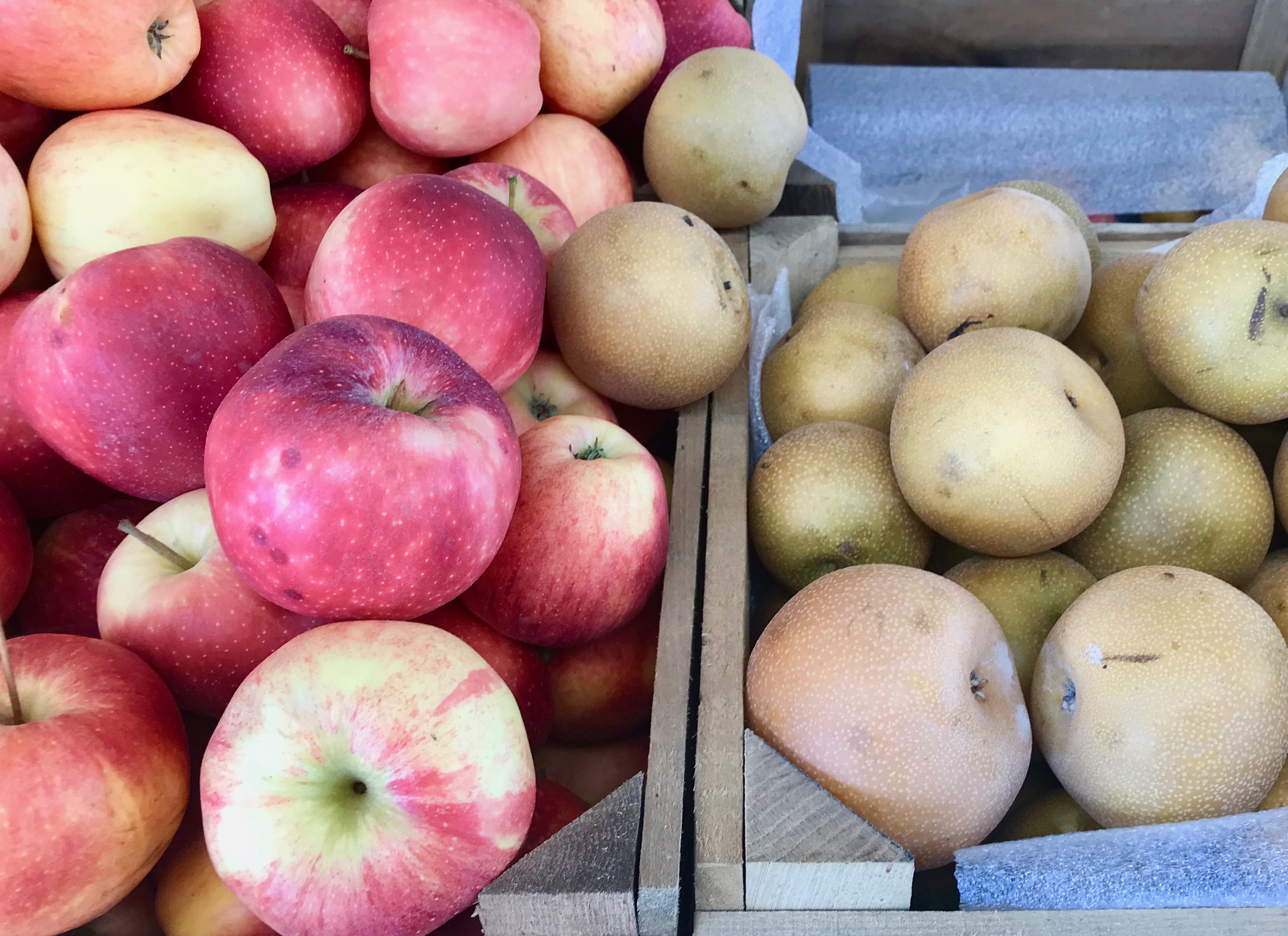 apples and asian pears at roadside stand