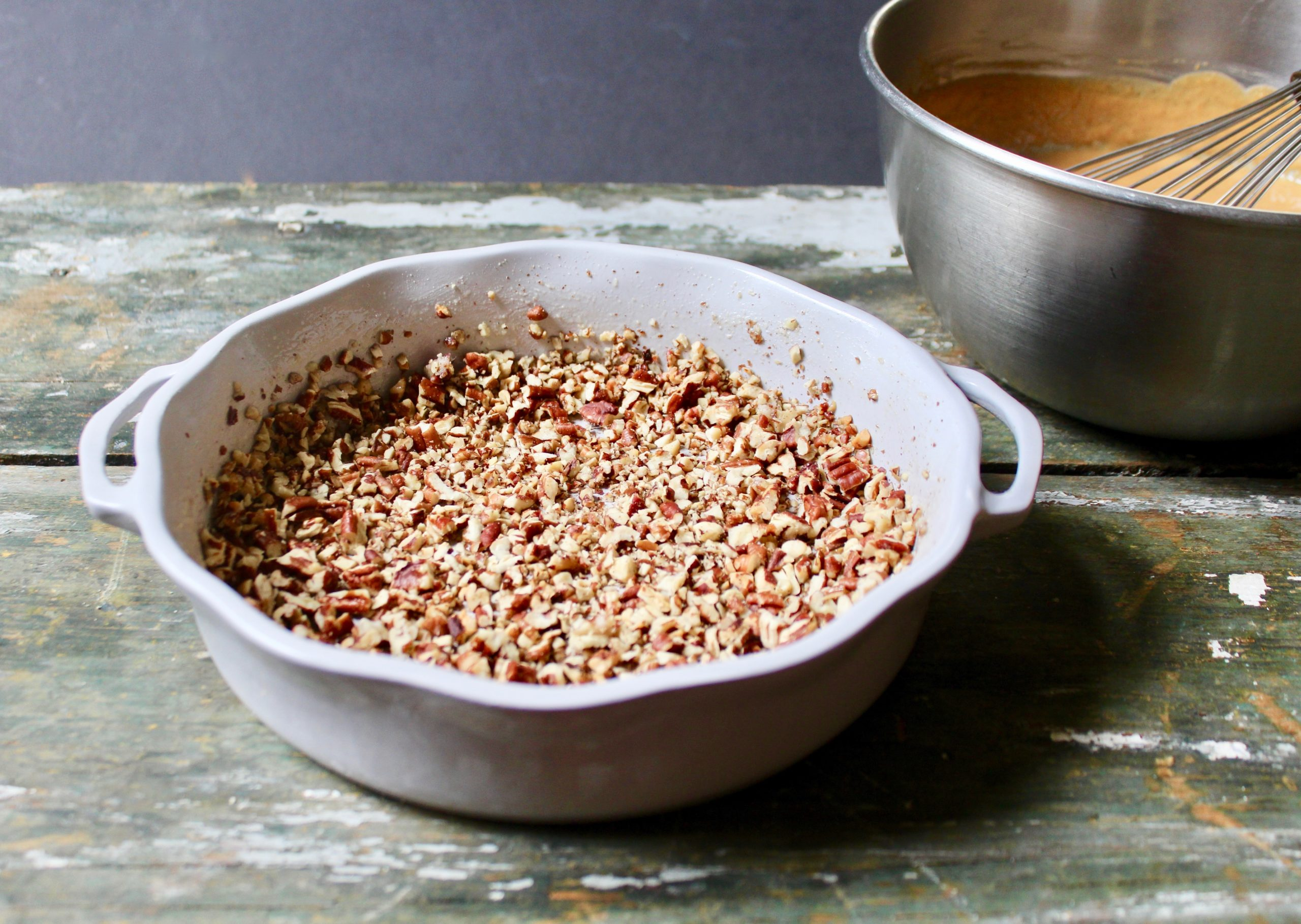 toasted pecans in bake dish