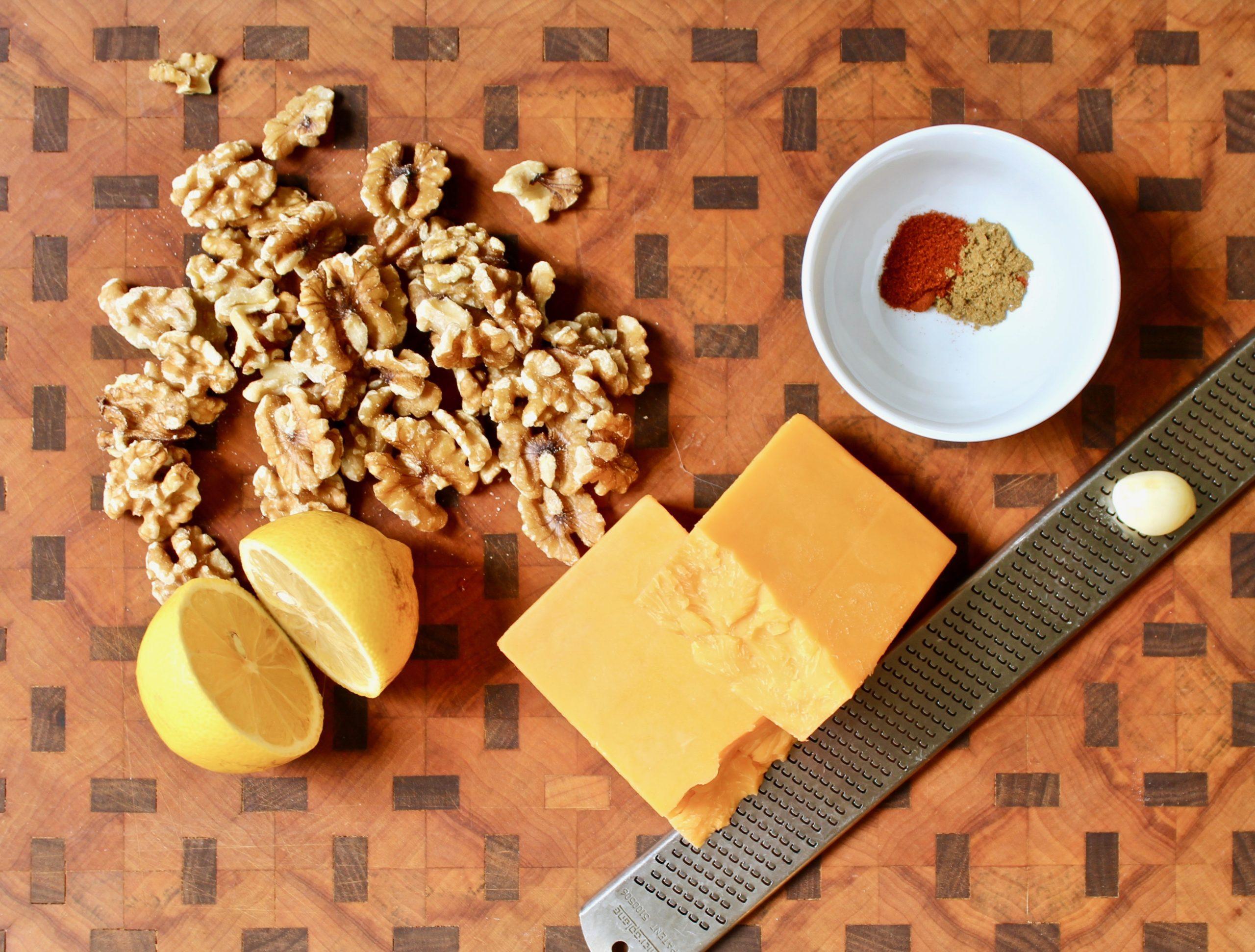 ingredients for cheddar walnut spread