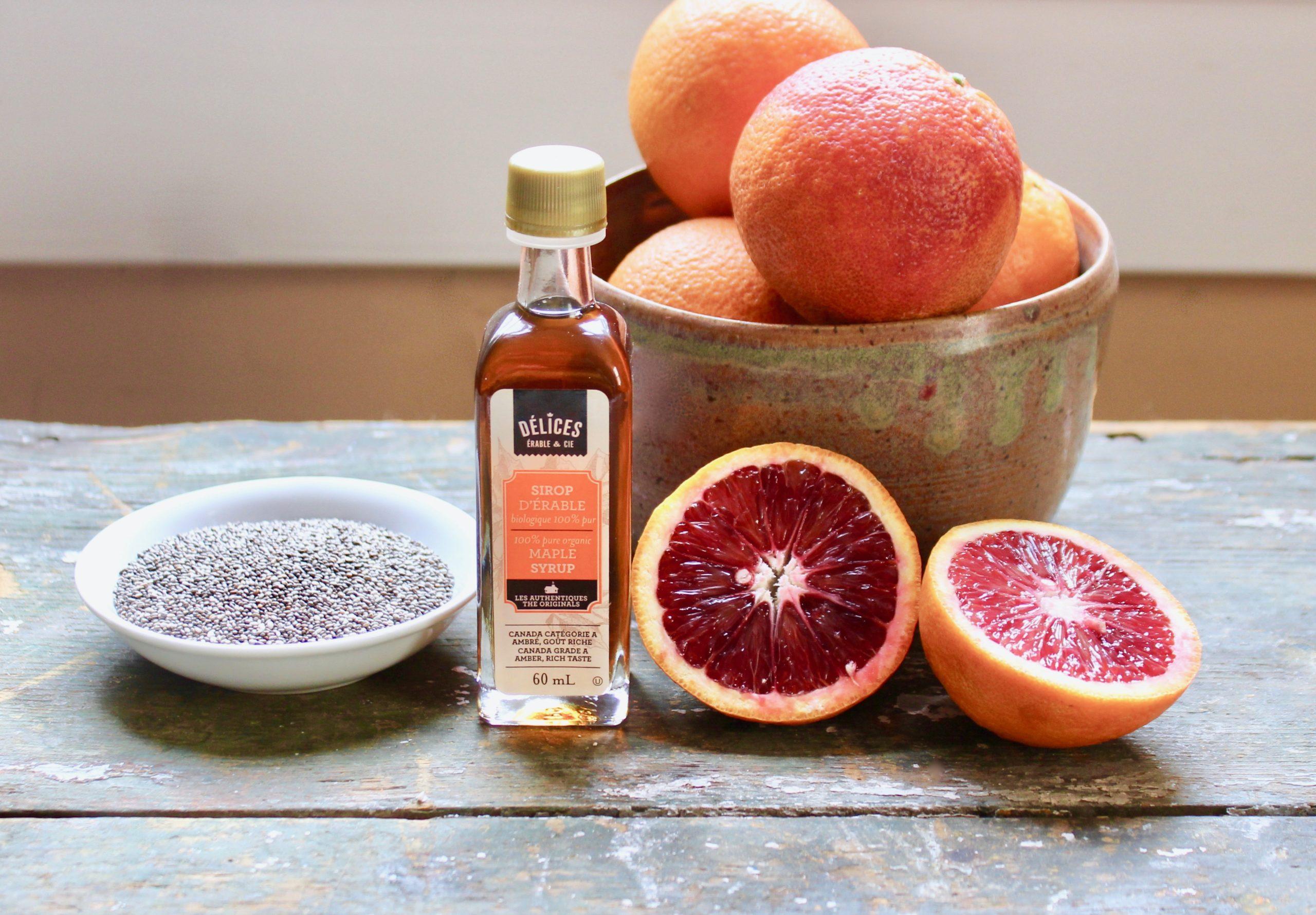 ingredients for blood orange chia pudding