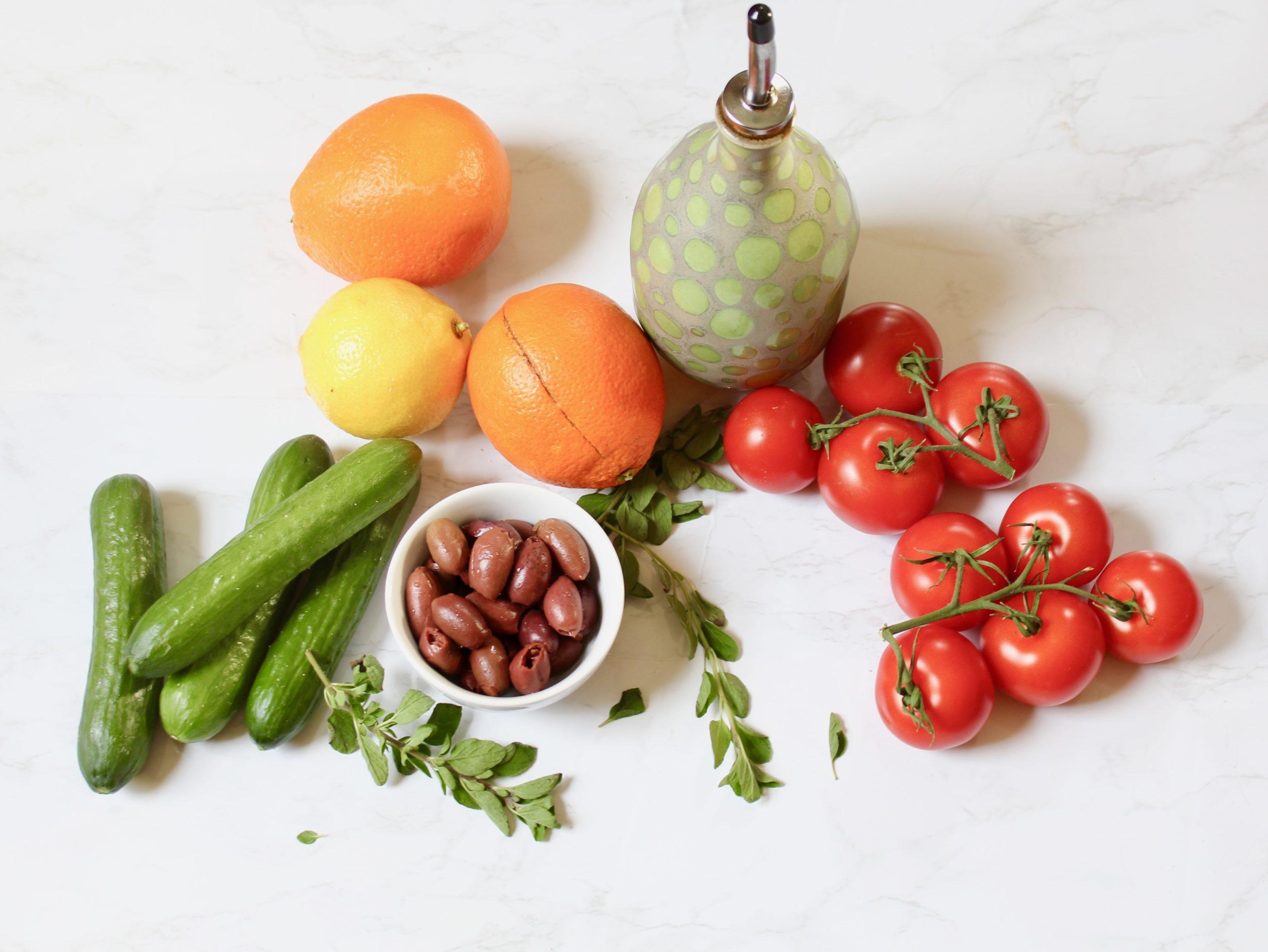 ingredients for greek salad with orange