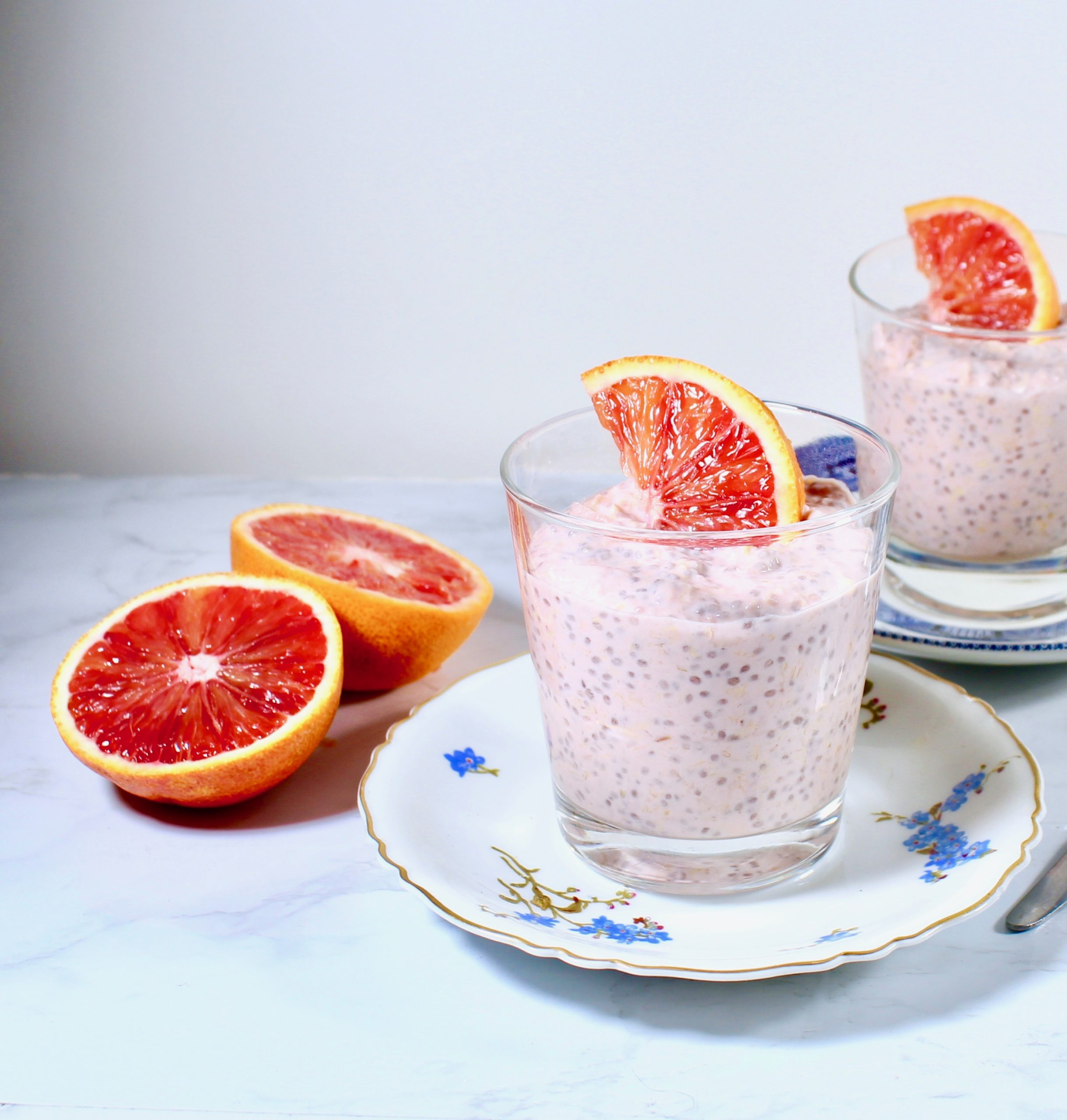 closeup of blood orange chia pudding