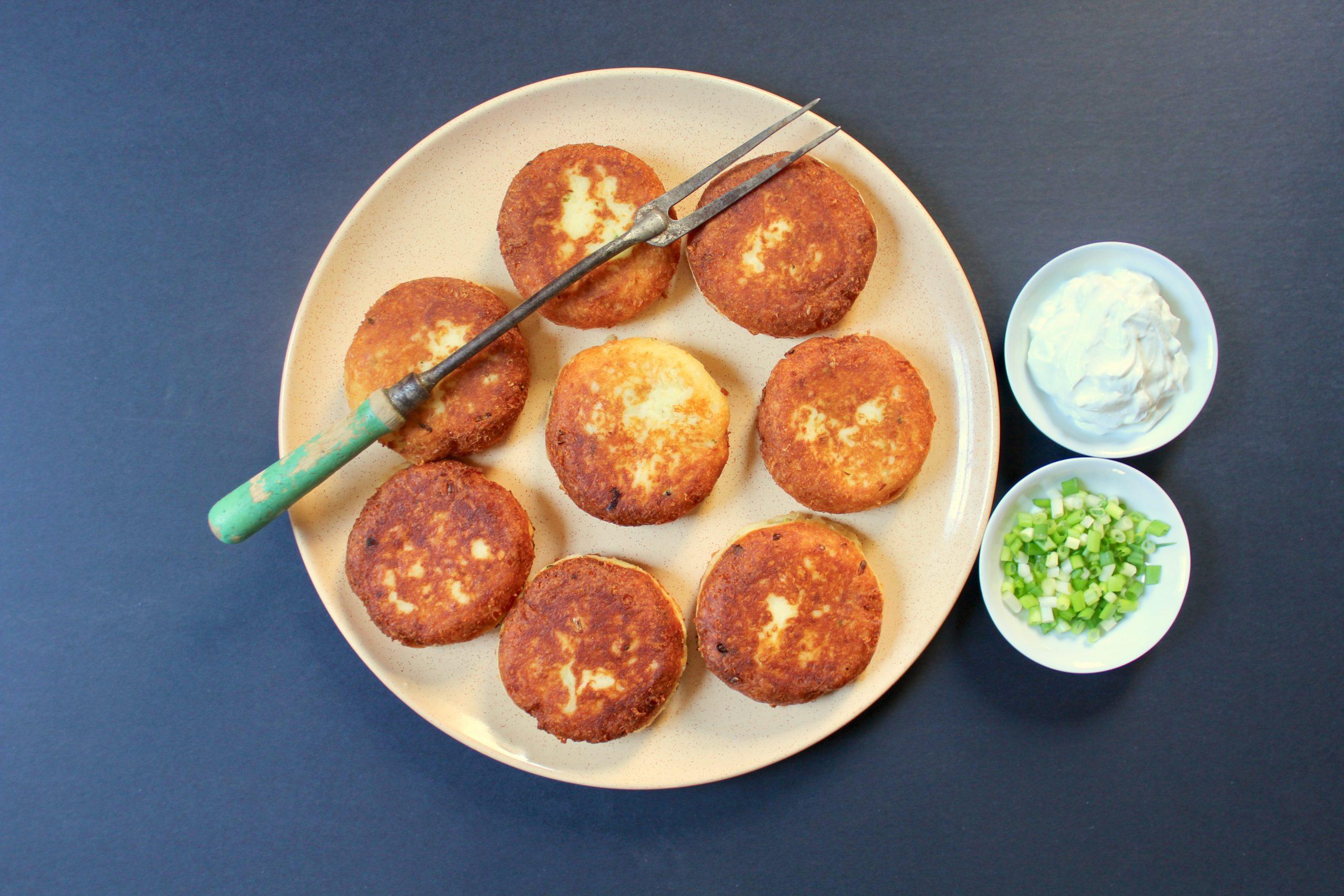platter of manchego potato cakes