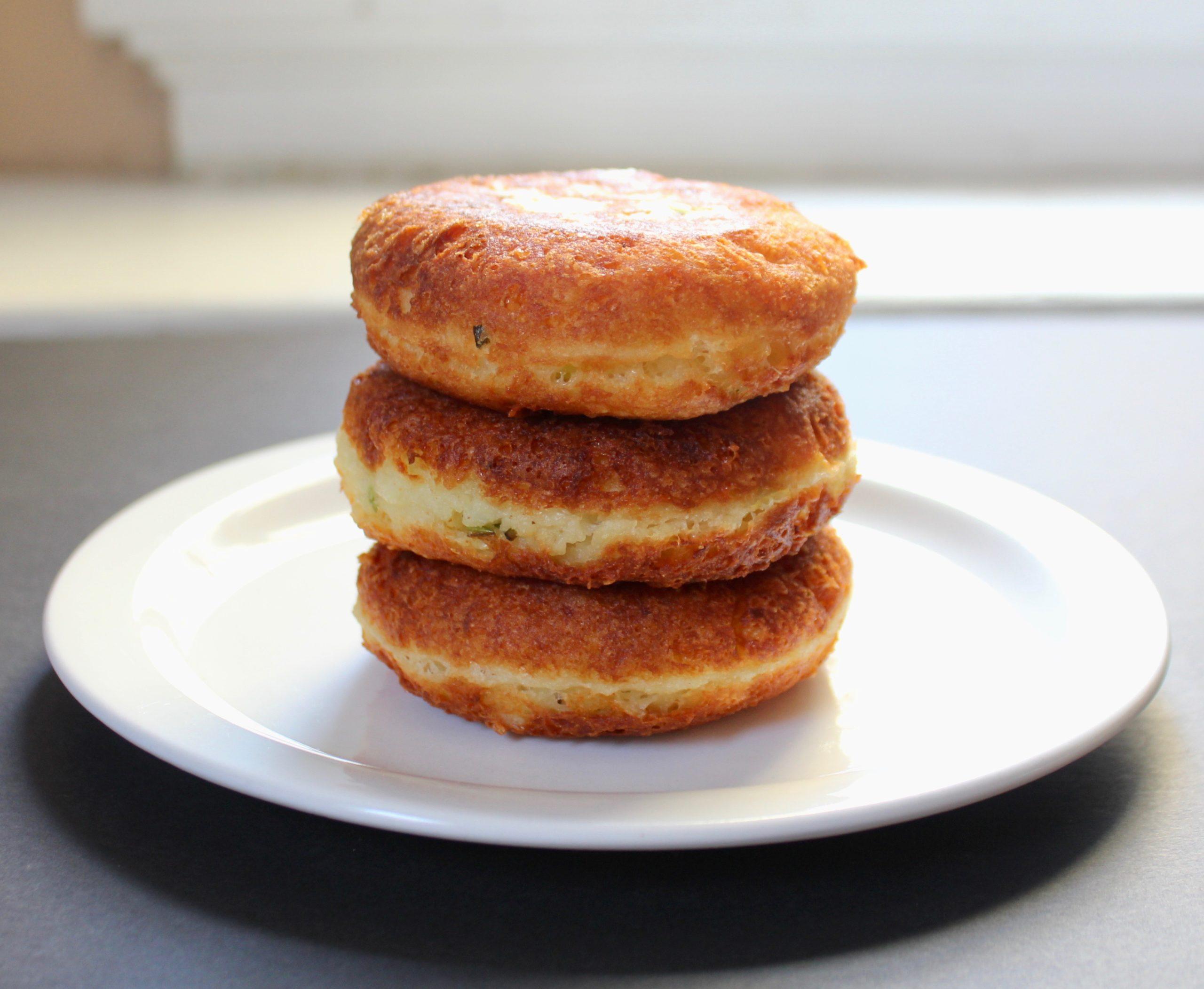 stack of manchego potato cakes