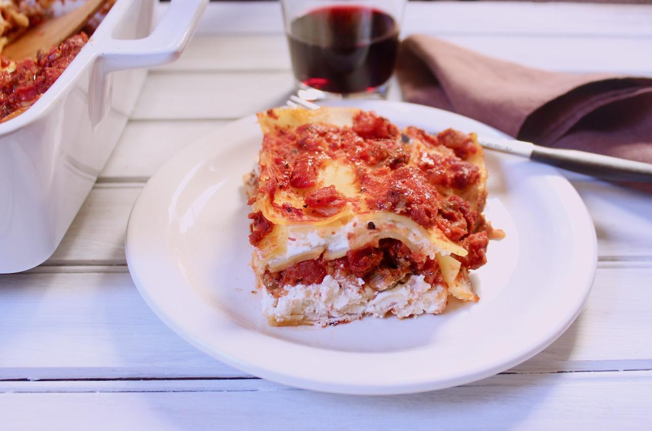 slice of beyond meat lasagna