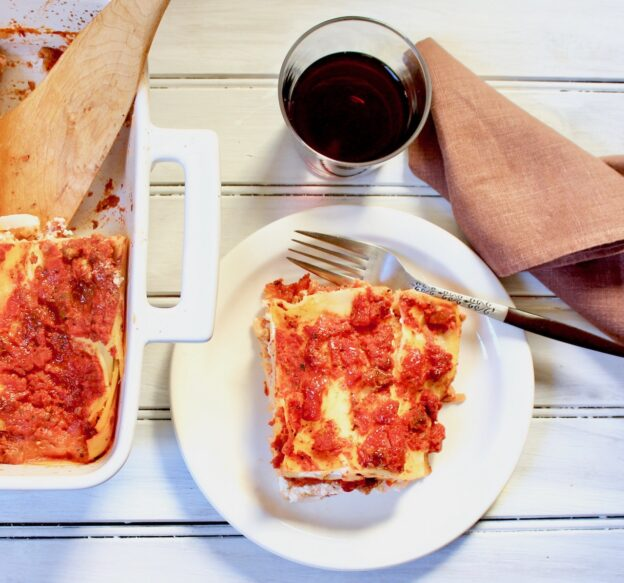 plate of beyond meat lasagna