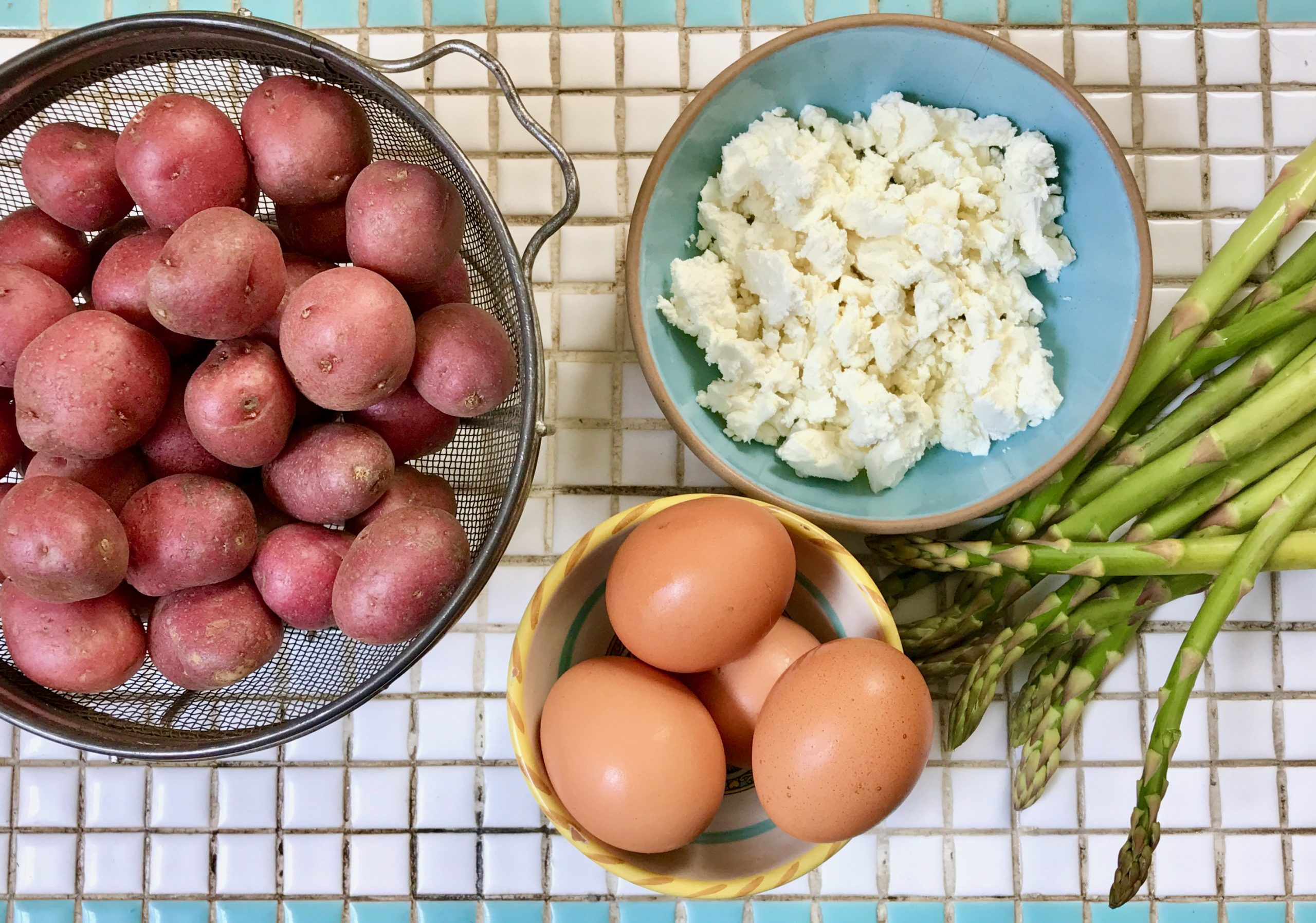 ingredients for asparagus potato frittata