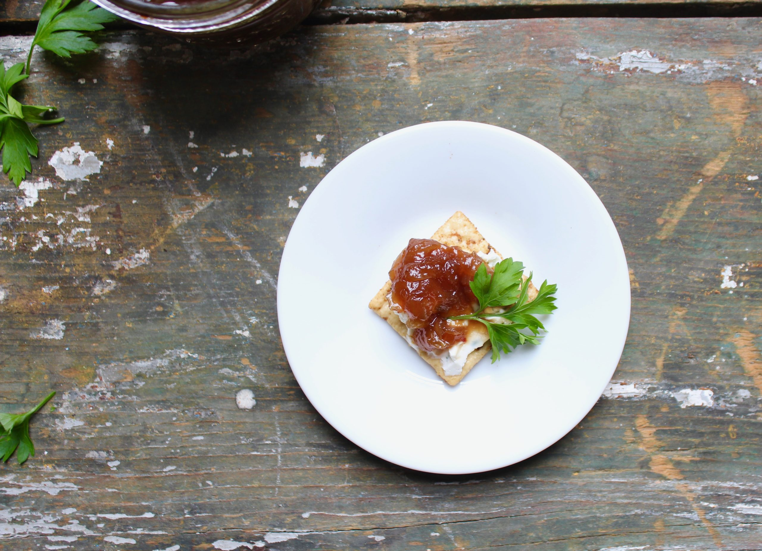 vidalia onion chutney on cracker