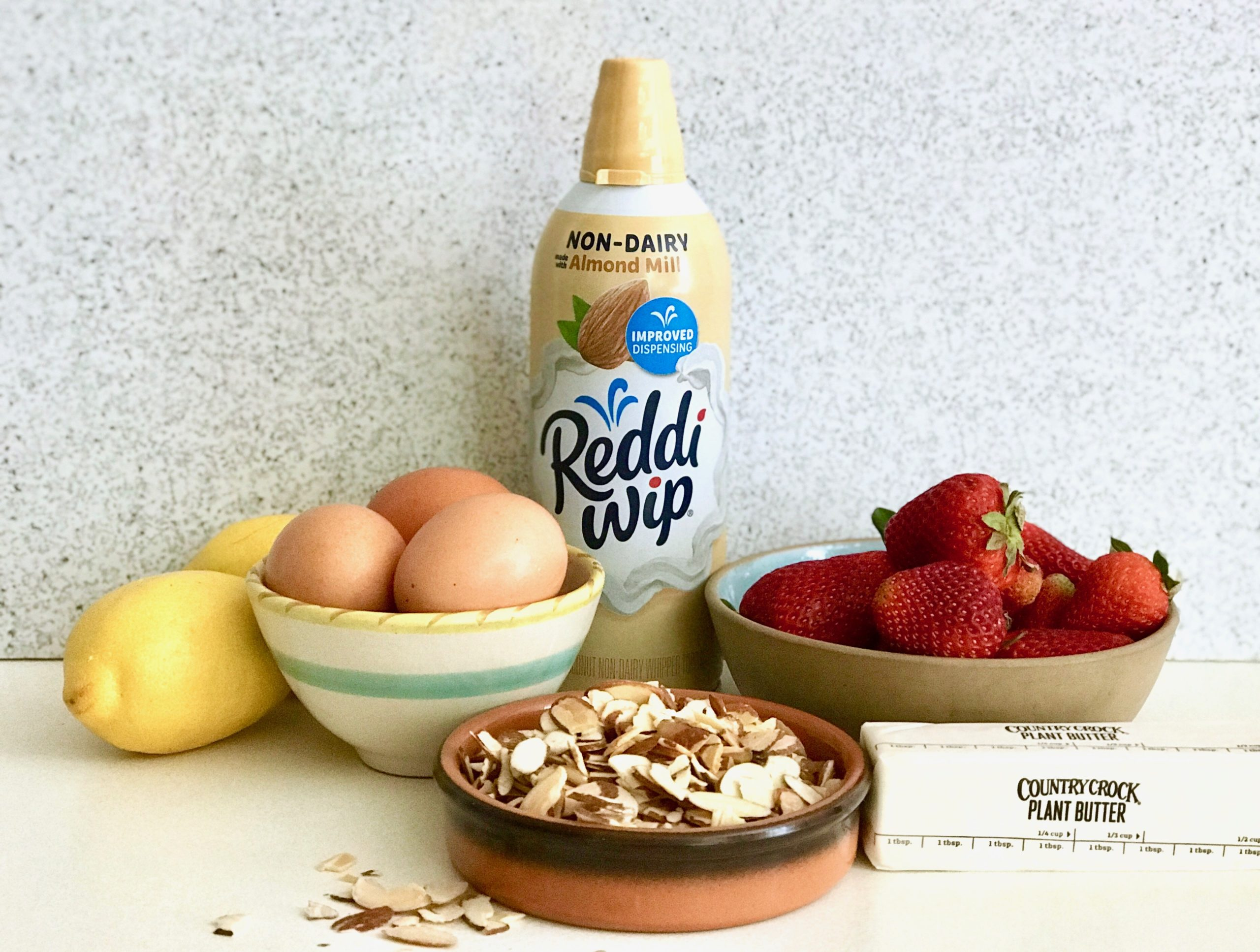 ingredients for almond meringue berry tarts