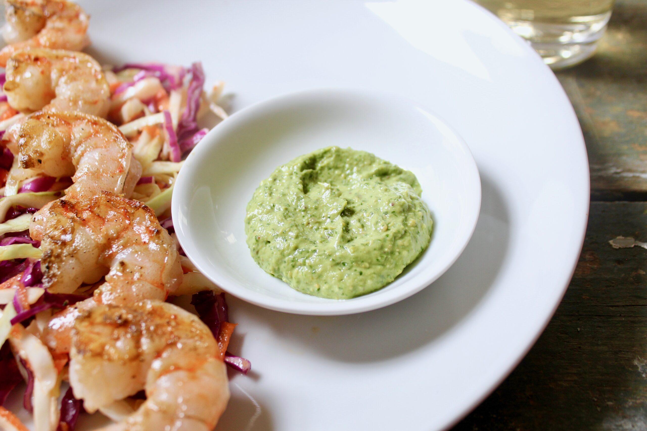 closeup of herbed pistachio sauce