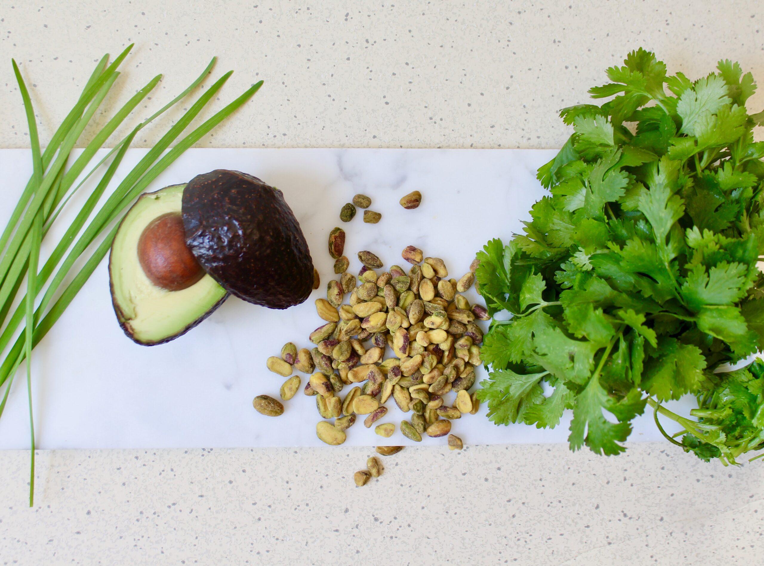 ingredients for herbed pistachio sauce