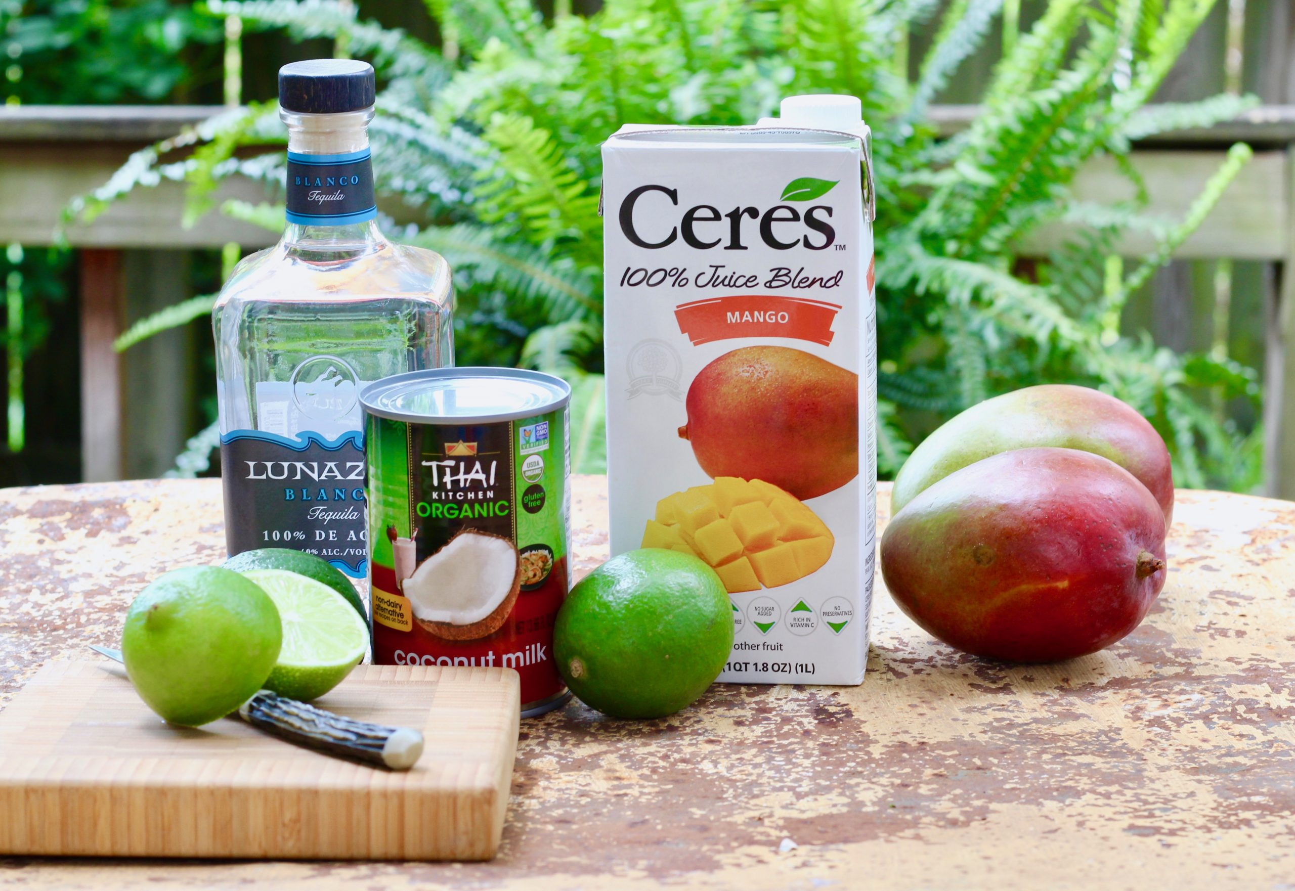 ingredients for mango coconut cocktail