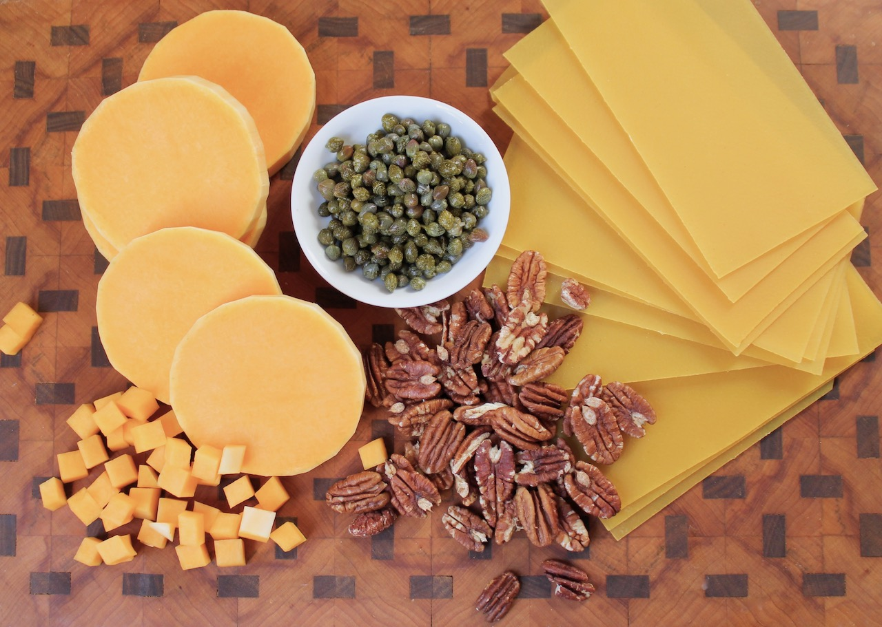 ingredients for butternut pecan cannelloni