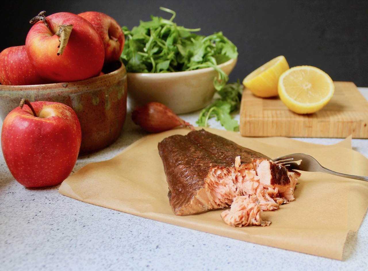 ingredients for smoked salmon apple salad