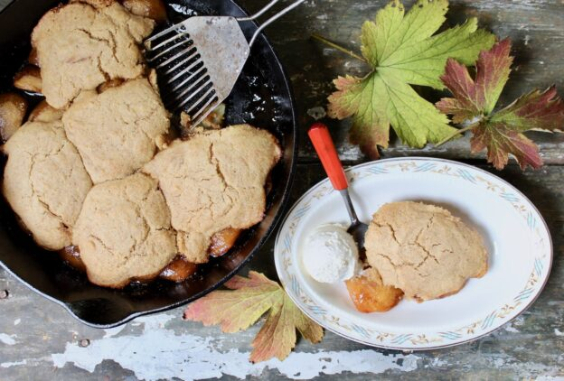 skillet apple cobbler with ice cream