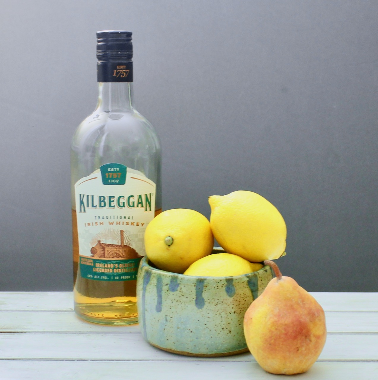 ingredients for pear whiskey sour