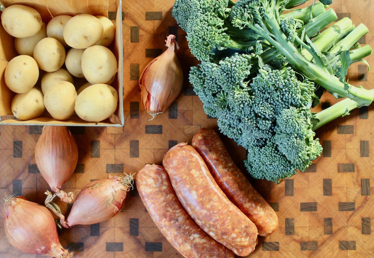 ingredients for sausage broccoli sheet pan dinner