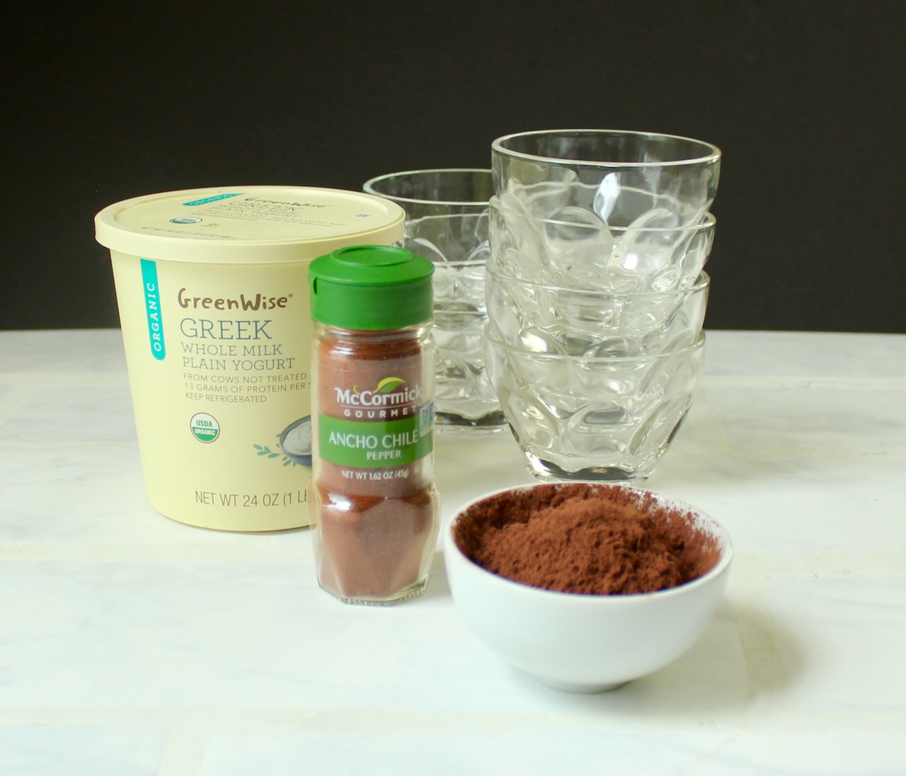 ingredients for chocolate chile panna cotta