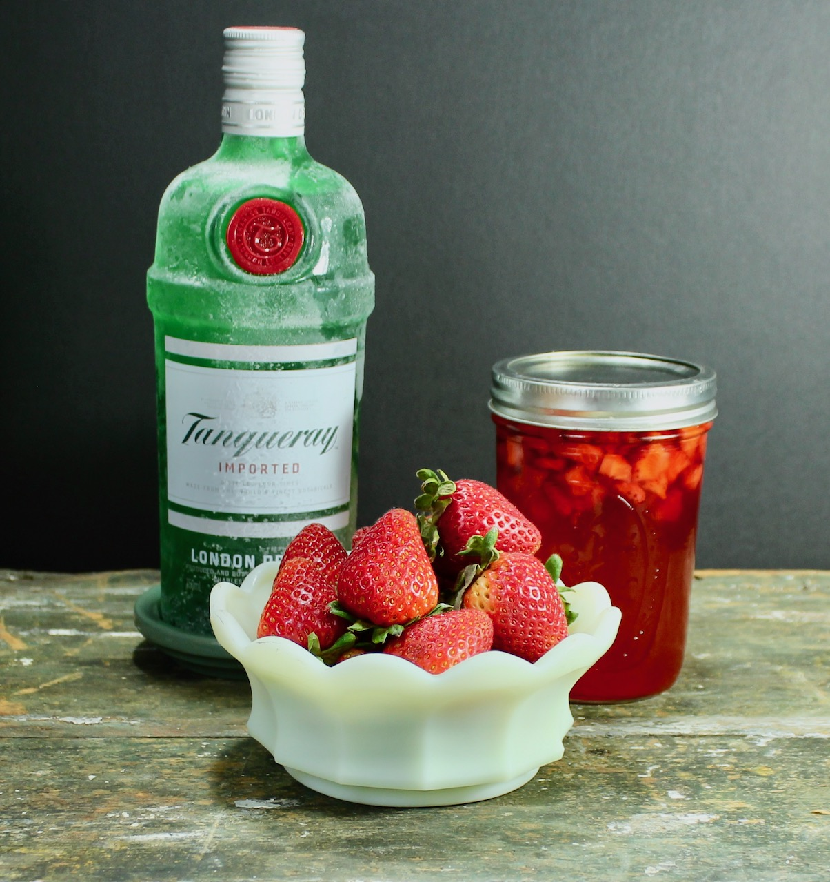 ingredients for strawberry shrub gin cocktail