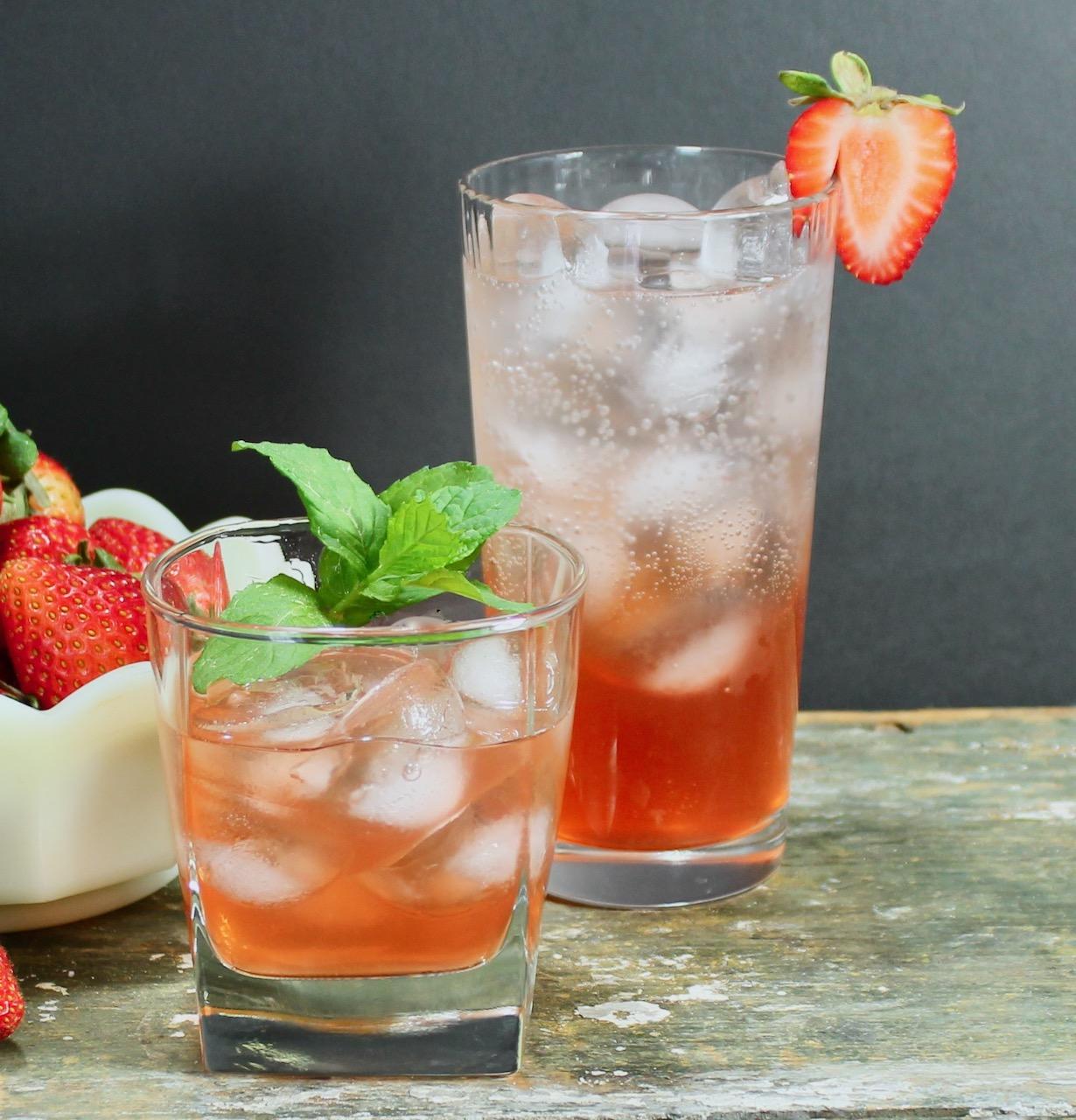 strawberry shrub gin cocktail