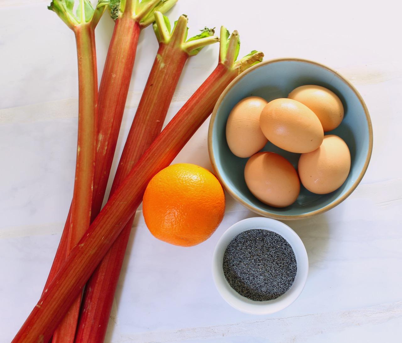 ingredients for rhubarb poppyseed cake