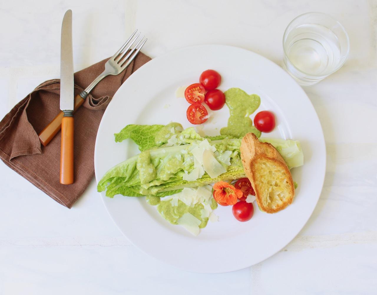 plate of basil caesar salad