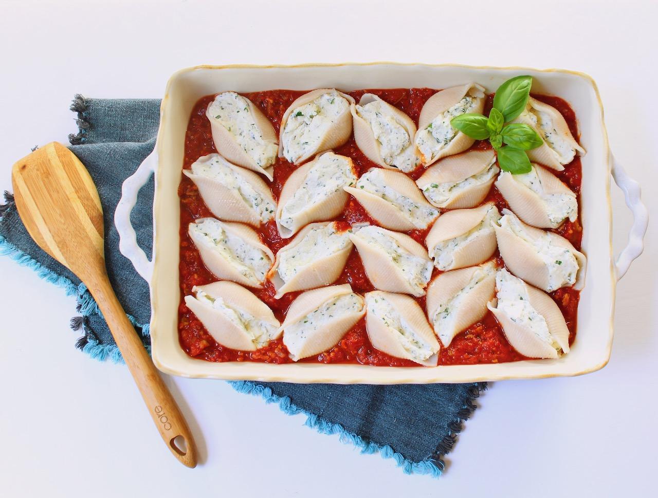 baking dish of beyond meat stuffed shells