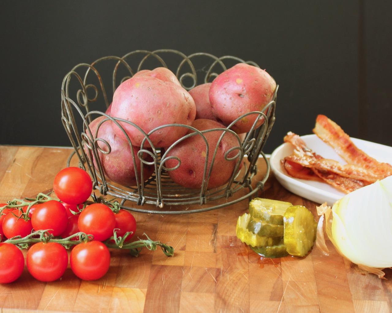 ingredients for bacon tomato potato salad