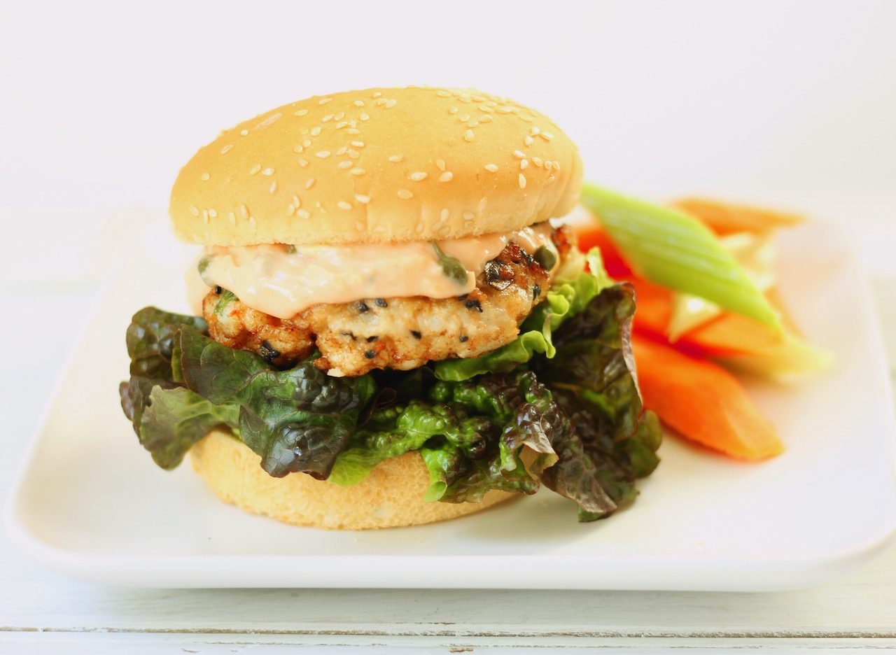 sesame shrimp burger