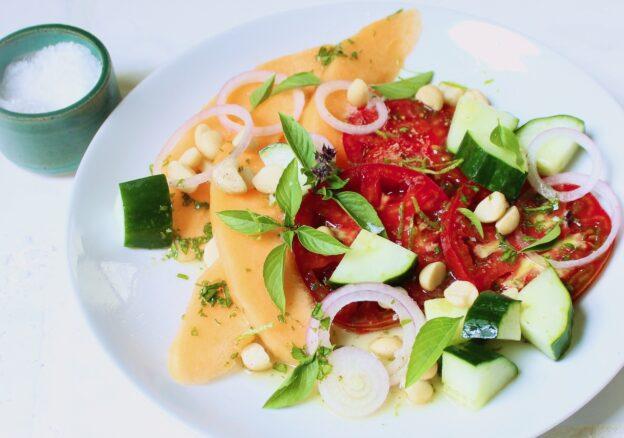 closeup of lime basil cantaloupe salad