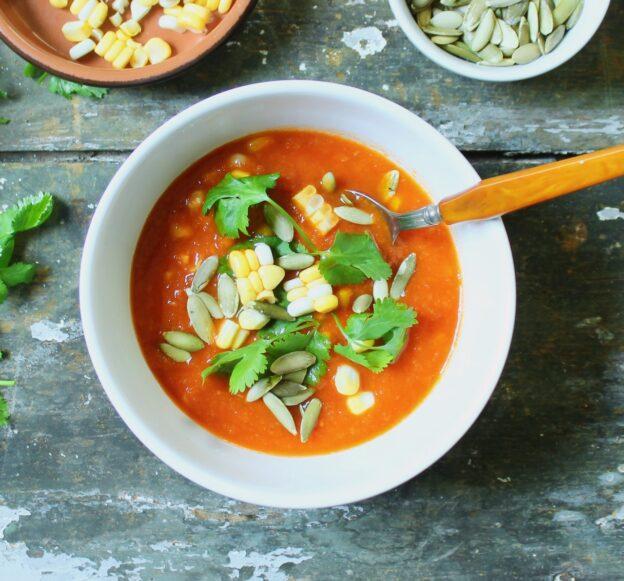 closeup of smoky tomato corn soup