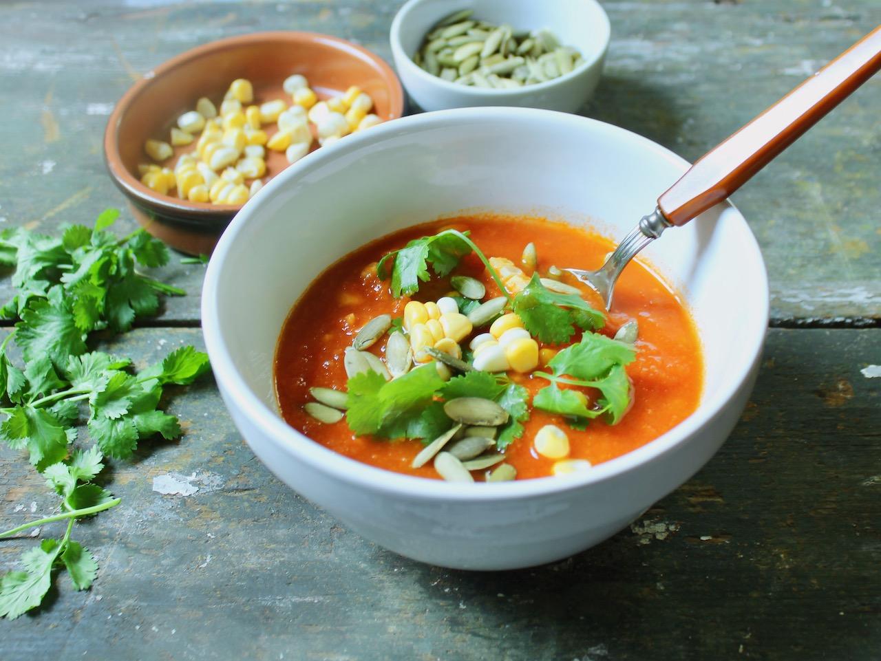 angle view smoky tomato corn soup