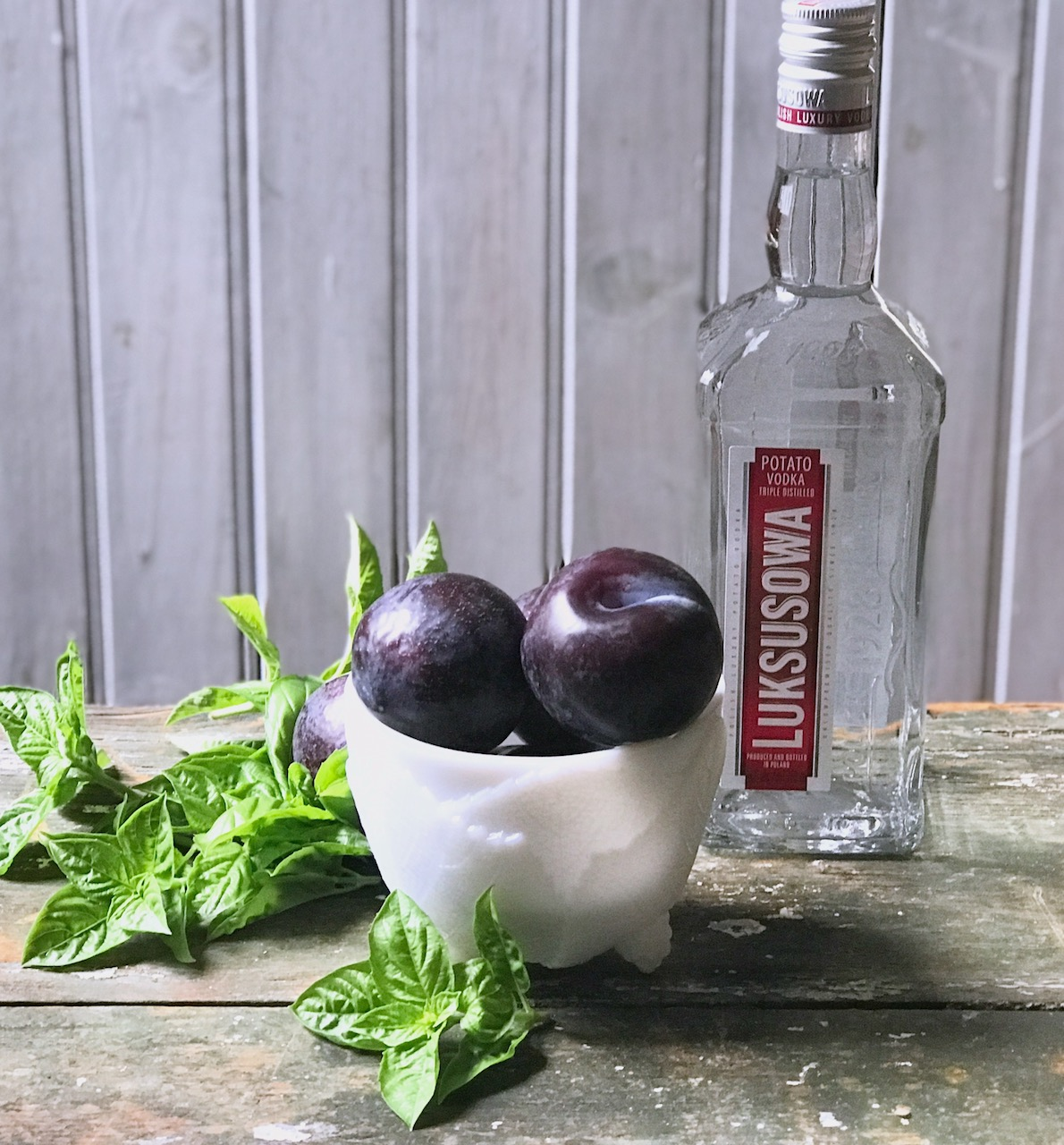 plums, basil and vodka